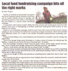 Local School Food Fundraising article